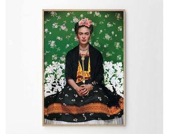 Frida Kahlo and Green Floral Background Art Print
