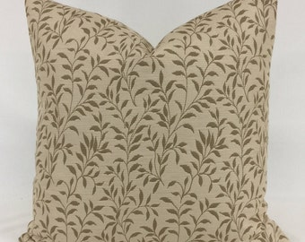 Pillow Cover - 20 x 20 - Leaf - Vine - Natural - Beige - Camel - Lined - Zippered
