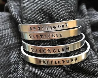HP House cuffs - Slytherin, Gryffindor, Hufflepuff, Ravenclaw