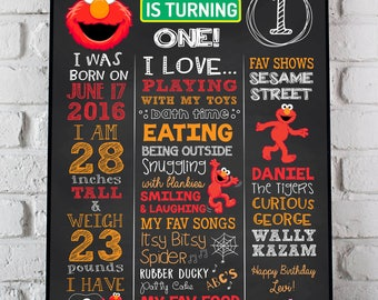 Elmo Birthday Poster, Sesame Street Birthday Sign First Second Birthday Poster Chalkboard Poster DIGITAL FILE 1st, 2nd Birthday Any AGE