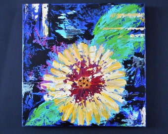 Abstract Flower Painting Original Art Canvas Wall Art  Home Decor Hand Painted