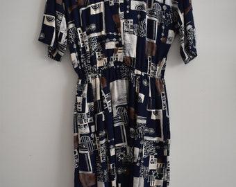 Vintage Patterned Midi Dress