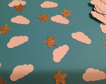 Twinkle twinkle little star confetti, white clouds with silver or gold stars
