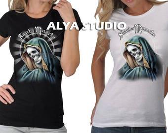 Women's La Santa Muerte Halo Saint Death Holy Dead Gothic Graphic T-Shirt