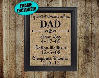 Framed Burlap Fathers Day Gift - Fathers Day Present - Dad Gifts - Gift For Dad - Personalized Fathers Day Gift- Valentines Day Gift For Dad