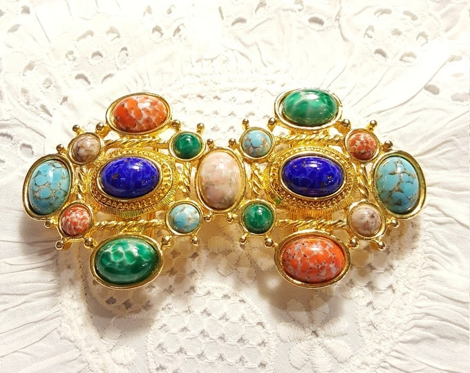 Vintage Haute Belt Buckle 2 pieces Multiple Cabochons Faux Gem Stones Douglas Paquette
