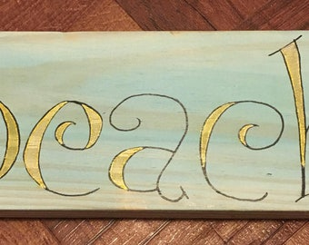 Beach Hand Lettered Wall Art