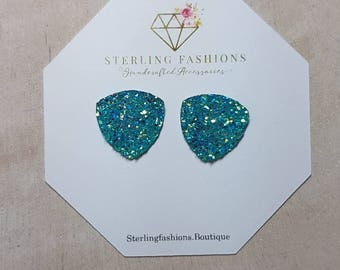 Extra-Large - AB RAW - Teal Druzy - Triangle Studs
