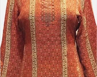 Indian printed silk top, Indian ethnic kurti, kurta, tunic with long sleeves