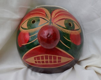 Coconut Shell Painted Mask from Nicaragua