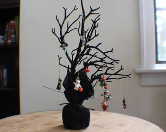 Vintage Mini Halloween Tree w/ 9 Ornaments