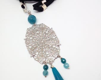 Necklace with semiprecious stones and filigree pendant/necklace/necklace/gift ideas/handmade/turchse
