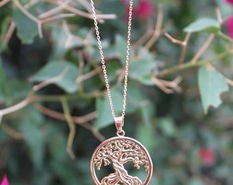 Tree Of Life - Gold Necklace - Spiritual Pendant.