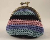 Crochet coin purse, vintage style coin pouch with metal closure, with pink, light blue, violet and black stripes