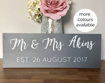 Custom wedding established sign - mr & mrs - family name - wooden wedding sign - hand painted calligraphy