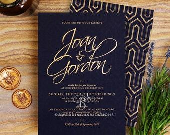 Luxe Diamond Wedding Invitation, Drapery Backing, Real Foil - Navy 116106