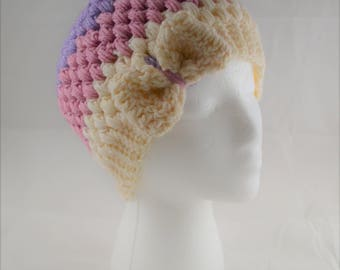 Soft Pastels Crocheted Beanie with Bow