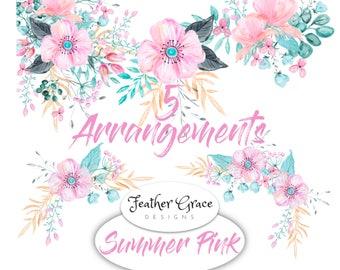 Boho Watercolor Clipart | Watercolor Flowers Clipart | Watercolor Art | Pink Flowers |Digital Clipart | Florals | Clipart Set