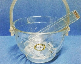 Vintage Sasaki Glass Ice Bucket and Tongs