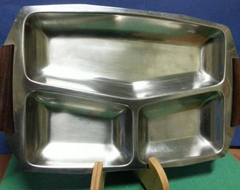 Vintage Stainless Steel Tray with Wooden Handles