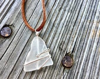 Genuine White Sea Glass Triangle Pendant