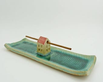 incense burner, turquoise incense holder  for Tibetan incense sticks, incense dish ceramic