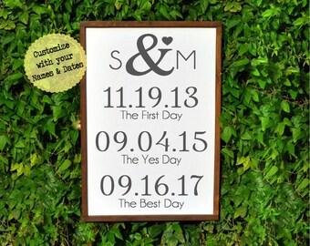 Rustic Two Year Anniversary gift for Girlfriend-Boyfriend-Husband- Wedding Sign- Second Anniversary Gift for Men-Women