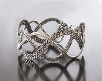 Wire Wrap Bracelet - Wire Wrapped Jewelry - Handmade Bracelet  - Braided Cuff - Silver Bracelet - Woven Cuff - Inspirational - Gift For Her
