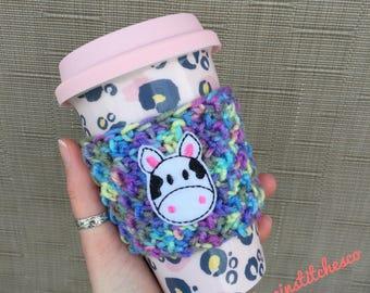 Cow cup cozy, travel mug cozy, mug sweater, coffee sleeve