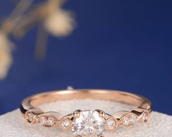 Art Deco Moissanite Engagement Ring Rose Gold Antique Wedding Ring Diamond Half Eternity Solitaire Unique Retro Anniversary Promise Women