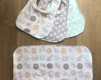 Baby Bib and Burp Cloth Set
