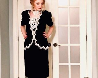 Scott McClintock; Vintage Dress; Black Velvet Dress; Designer Dress