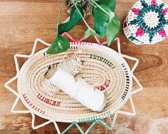 Vintage Coiled Basket with Color Details / Wall Basket / Basket Storage