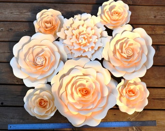 Set of 8 Ivory flowers for paper flower wall, backdrop, home decoration.