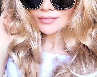 Top Seller Designer Inspired Vintage Black Square Retro Sunglasses Gold Stud Design Shades Summer Sunnies