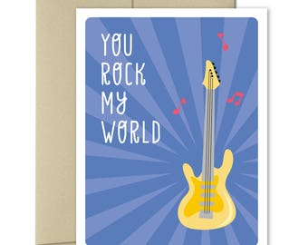 Love Cards - Friendship Card - Cards for him - Puns - Cards for Men - Anniversary card - Valentines Card - You Rock