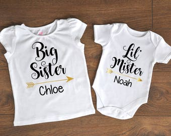 Custom Siblings Shirts, Matching Shirts, Sister Brother Shirts, Bodysuit, Little Mister, Big Sister, Little Brother, Customizable, Glitter