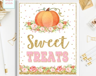 Pumpkin Party Sign, Pumpkin Sweet Treats Sign, Birthday Sign, Pink and Gold Baby Shower Table Sign, Printable Party Sign, INSTANT DOWNLOAD