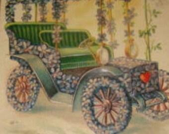 Nice Vintage Floral Postcard (Car #2)