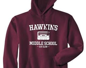 Hawkins Middle School AV Club Hoodie / Hooded Sweatshirt - Stranger Things Inspired Sweater - Unisex Fit
