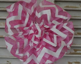 Pink Chevron Stripe Bow, Easter Bow, Spring Bow, Pink and White Bow, Wreath Bow, Decorative Bow, Basket Bow, Gift Bow, Shower Bow