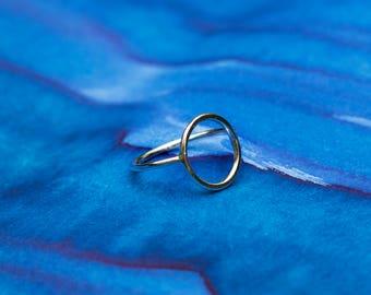 Handmade sterling silver large circle stacking ring, UK size Q