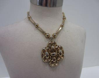 Napier Large Chunky Gold-Tone Mid-Century Modern Statement Necklace