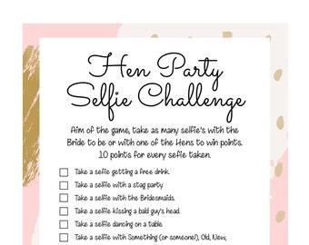 Hen Party games. Hen Party Selfie/Photo challenge. Hen Party Game. Printable Hen party game