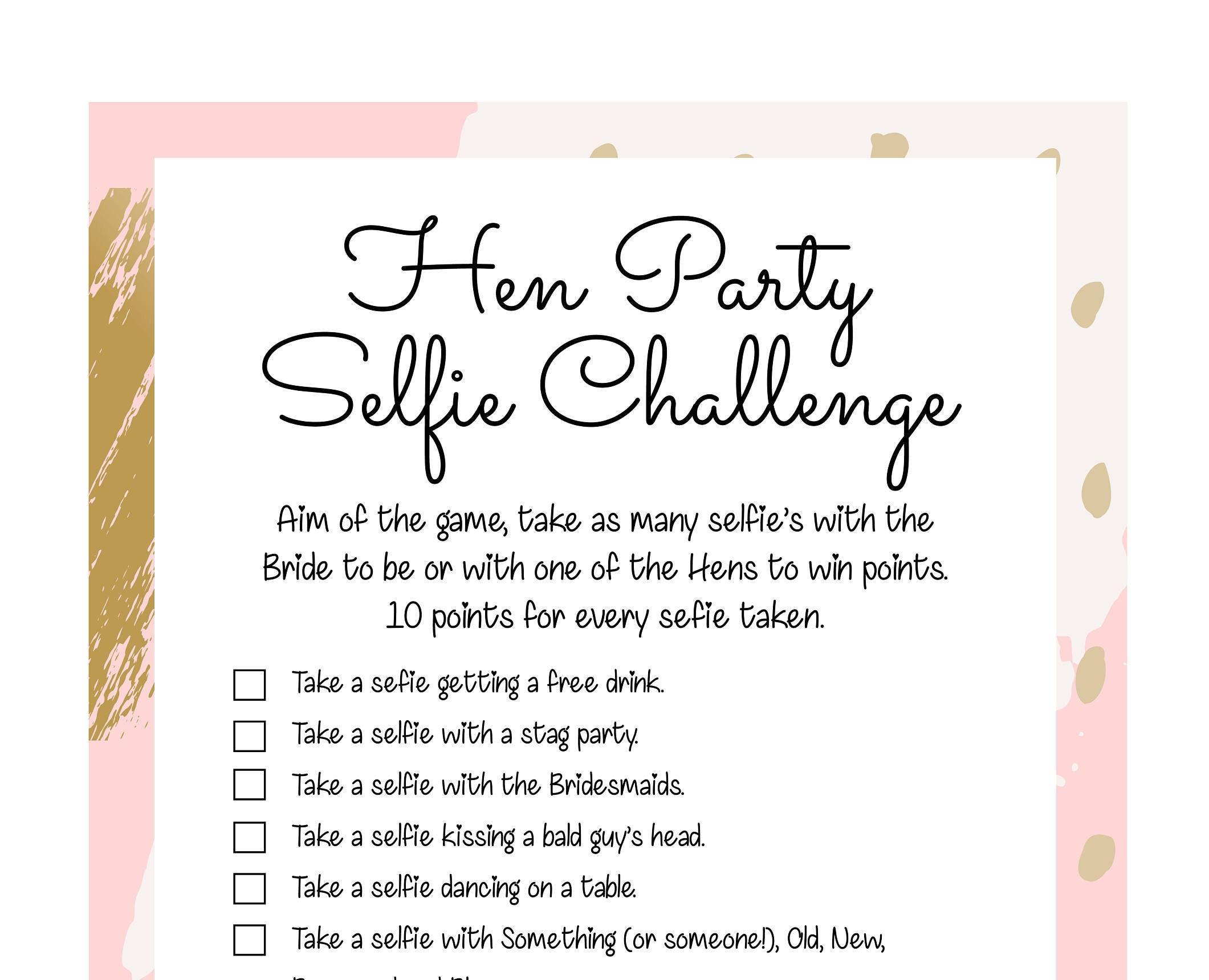 Hen Party Games Hen Party Selfie Photo Challenge Hen Party