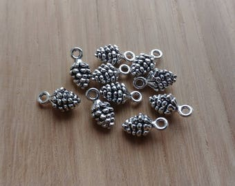 10 x Zinc Alloy Silver Pinecone Charms for Jewellery Making