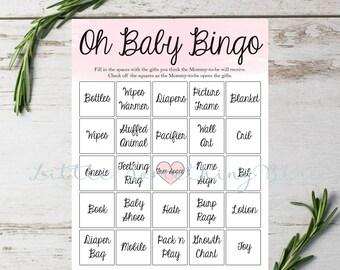Baby Shower Bingo // Baby Girl Bingo // Pink // Watercolor // Instant Download // Printable