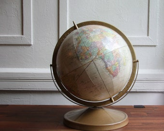 "George F Cram Antique Globe – Cram Antique 12"" Globe -  George F Cram Company – 80s Vintage Globe - Vintage deco - Office deco"