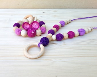 SET Mouse Rattle and Nursing necklace Teething necklace Teething toy Teething beads Crochet Baby rattle wooden beads Organic Natural toy