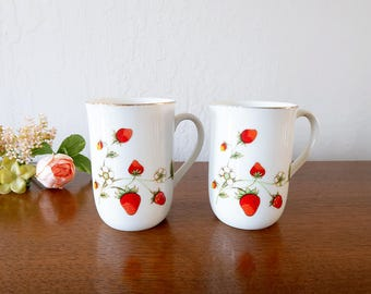 2 Vintage Otagiri strawberry coffee mugs, Otagiri Japan vintage mug, Vintage strawberry mug